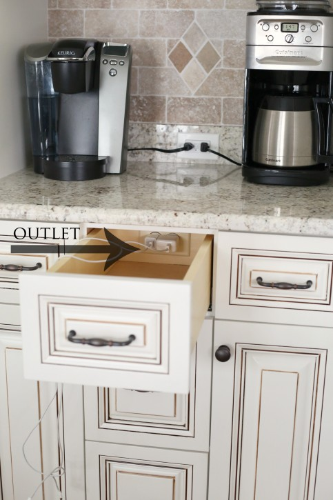 The NEW Cottage Home Before and After Kitchen Makeover. This Kitchen is AMAZING! Outlet in a drawer......such a great idea!