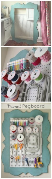 diy framed pegboard tutorial sewing and craft room the cottage mama