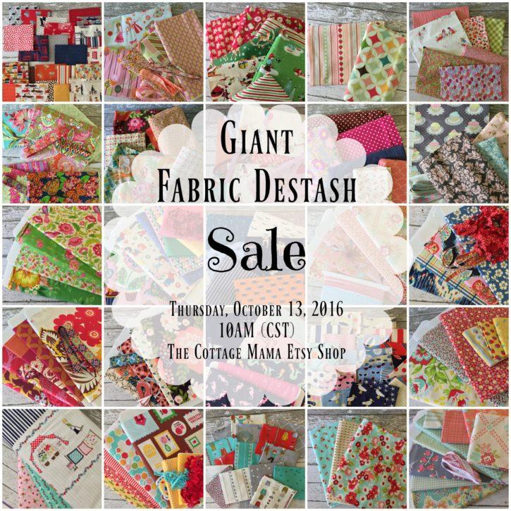 Giant Fabric Destash Sale at The Cottage Mama.