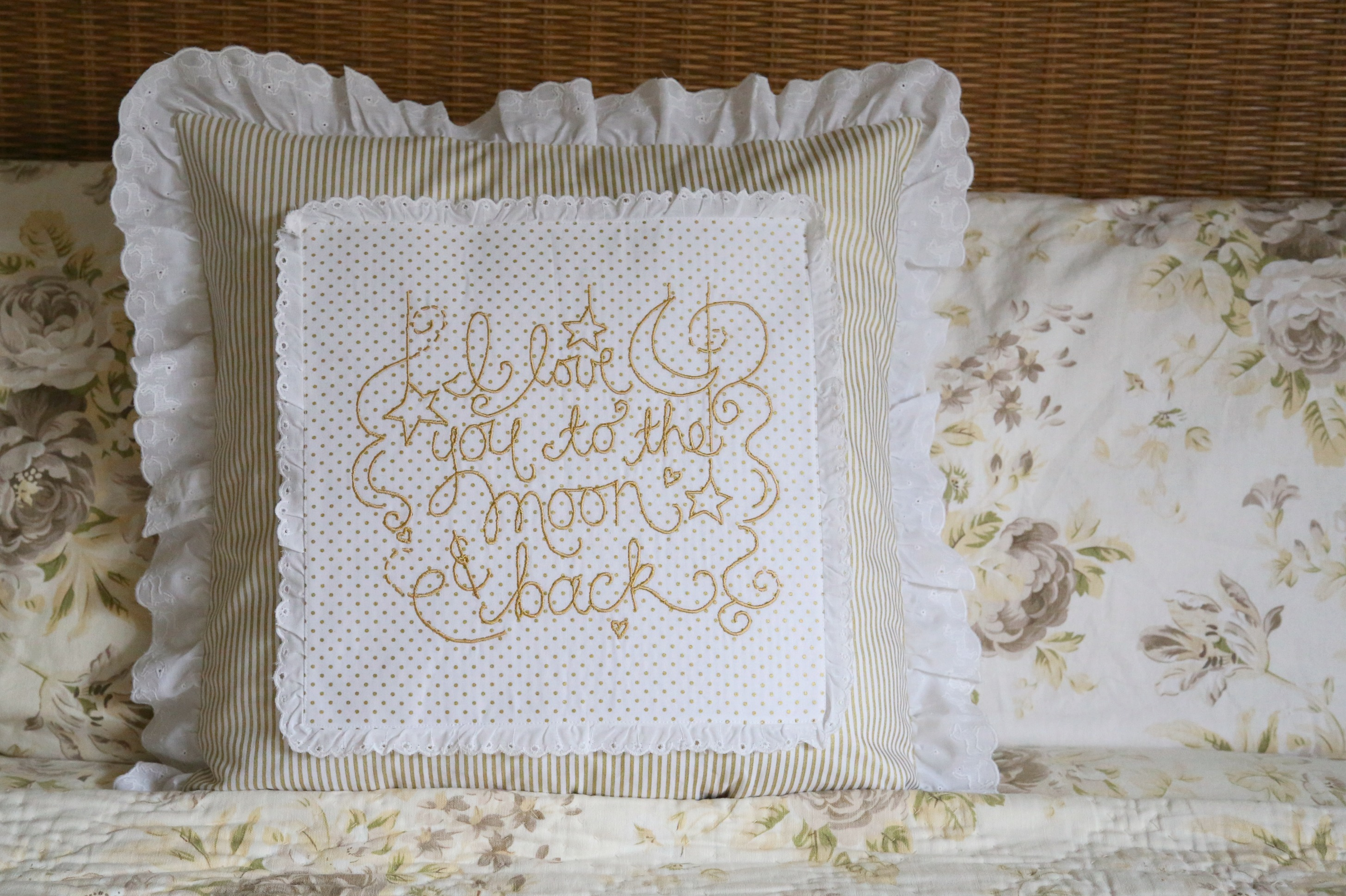 Love you to the moon and back embroidered pillow tutorial