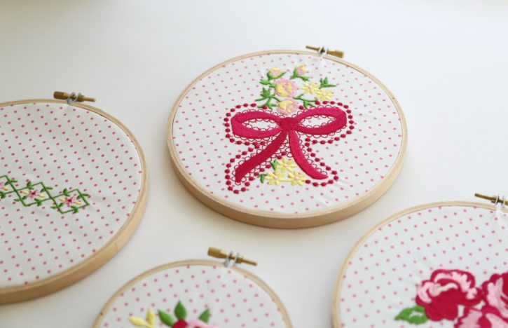Dainty Darling Machine Embroidery Designs. Coordinates with Dainty Darling Fabric Collection by Lindsay Wilkes from The Cottage Mama for Riley Blake Designs.